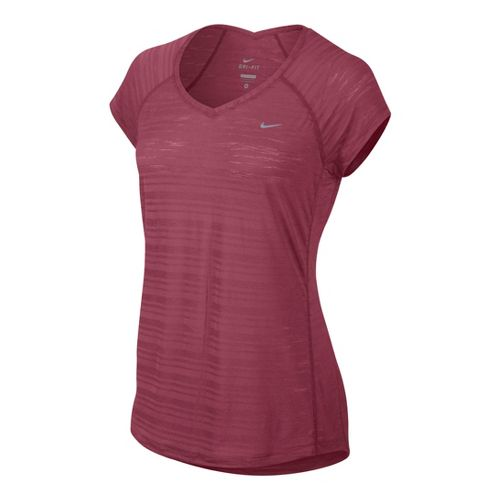 Womens Nike Breeze Short Sleeve Technical Tops - Chili Red L