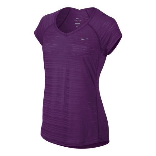 Womens Nike Breeze Short Sleeve Technical Tops - Grape M