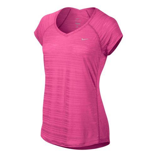 Womens Nike Breeze Short Sleeve Technical Tops - Hot Pink XS
