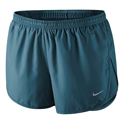 Womens Nike Mod Tempo Emboss Run Lined Shorts - Deep Sea Blue S