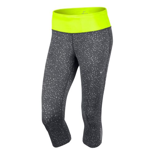Womens Nike Epic Run Printed Capri Tights - Dark Grey/Electra S