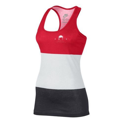 Womens Nike Tank-RU Sunset Tanks Technical Tops - White/Cherry XS