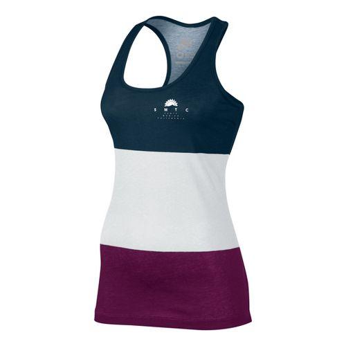 Womens Nike Tank-RU Sunset Tanks Technical Tops - White/Evergreen M