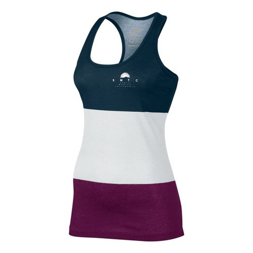 Womens Nike Tank-RU Sunset Tanks Technical Tops - White/Evergreen S