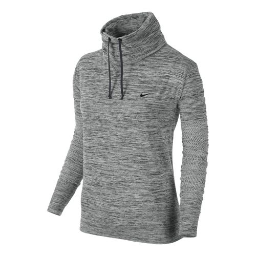 Womens Nike Dri-Fit Infinity Coverup Long Sleeve No Zip Technical Tops - Heather Grey L ...