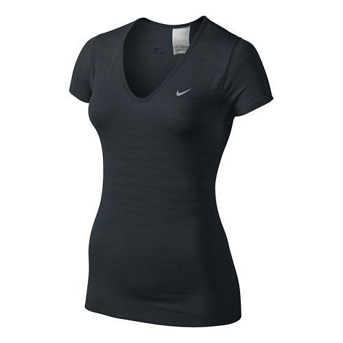 Womens Nike Dri-Fit Knit Texture V-Neck Short Sleeve Technical Tops - Black XL