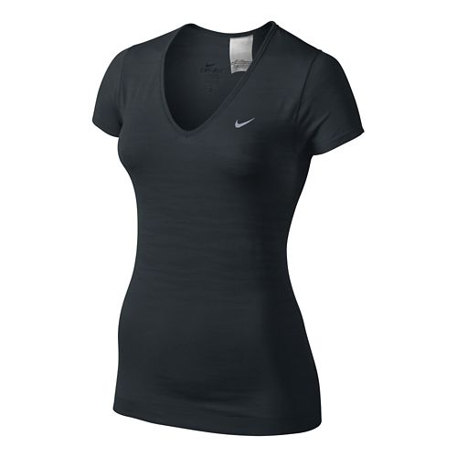 Womens Nike Dri-Fit Knit Texture V-Neck Short Sleeve Technical Tops - Black XS