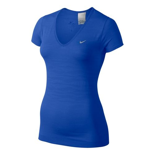 Womens Nike Dri-Fit Knit Texture V-Neck Short Sleeve Technical Tops - Cobalt XL