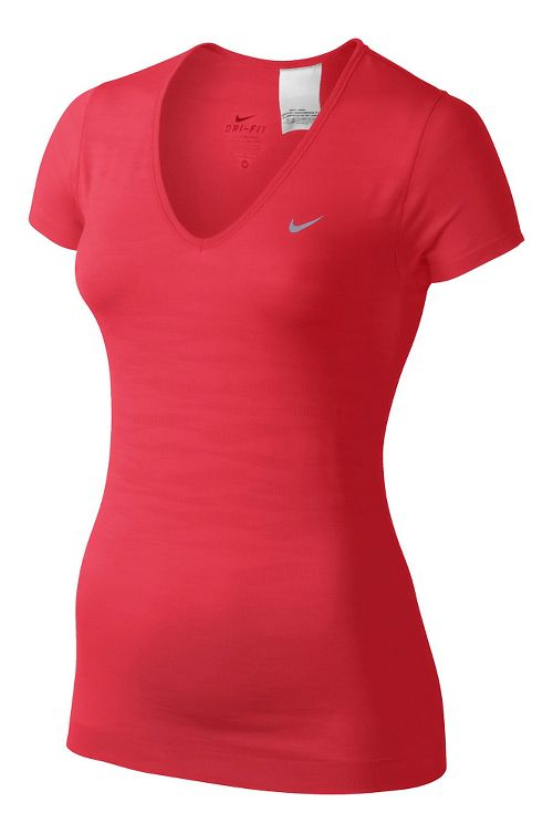 Womens Nike Dri-Fit Knit Texture V-Neck Short Sleeve Technical Tops - Formula Red S