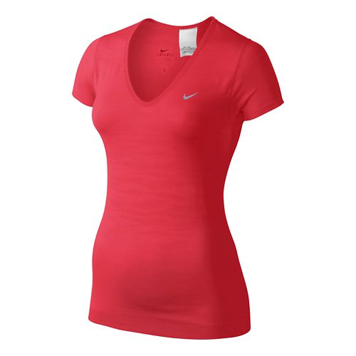 Womens Nike Dri-Fit Knit Texture V-Neck Short Sleeve Technical Tops - Formula Red M