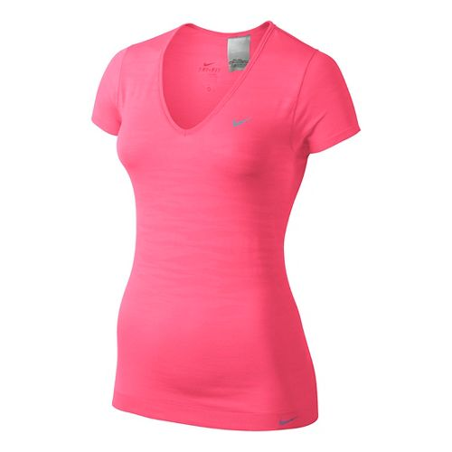 Womens Nike Dri-Fit Knit Texture V-Neck Short Sleeve Technical Tops - Pink Shock L