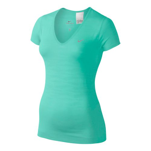 Womens Nike Dri-Fit Knit Texture V-Neck Short Sleeve Technical Tops - Turquoise XS