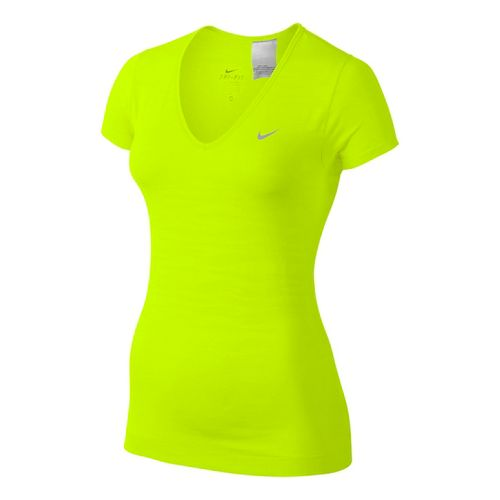 Womens Nike Dri-Fit Knit Texture V-Neck Short Sleeve Technical Tops - Volt XL