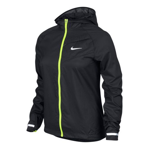 Womens Nike Impossibly Light Running Jackets - Black/Volt XL