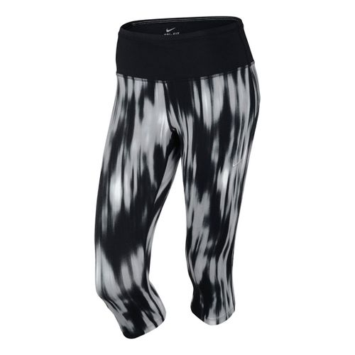 Womens Nike Printed Epic Run Capri Tights - Black/Print L