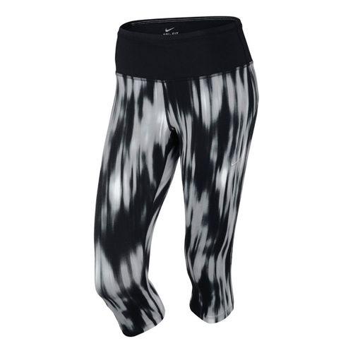 Womens Nike Printed Epic Run Capri Tights - Black/Print M