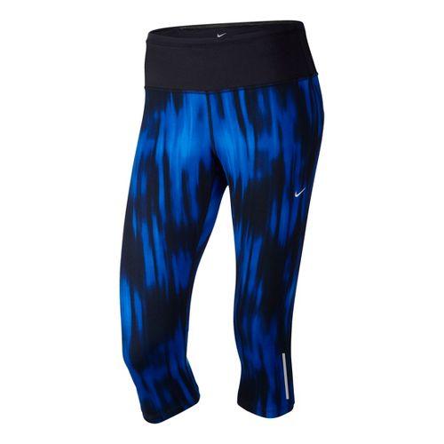 Womens Nike Printed Epic Run Capri Tights - Cobalt/Print S