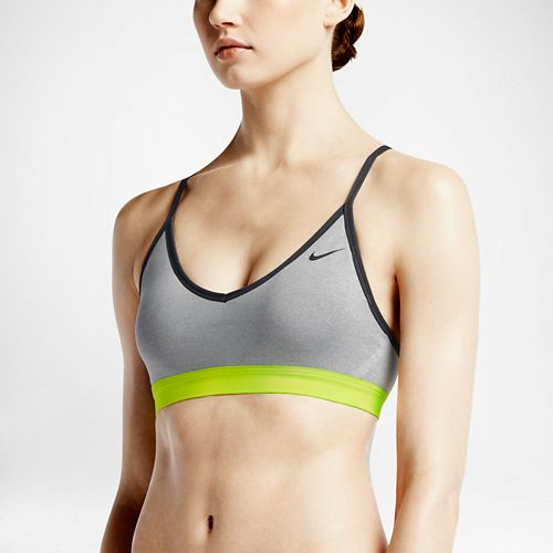 Womens Nike Pro Indy Sports Bra - Heather Grey L