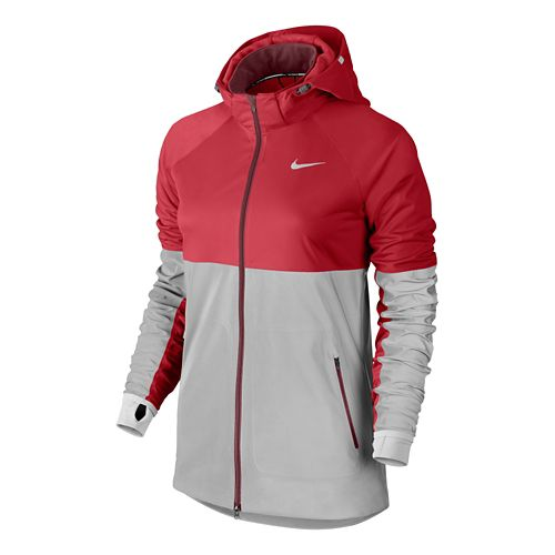 Womens Nike Shield Flash Running Jackets - Formula Red M