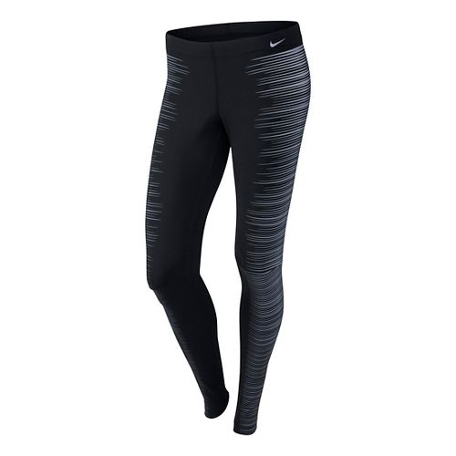 Womens Nike Printed Reflective Fitted Tights - Black L
