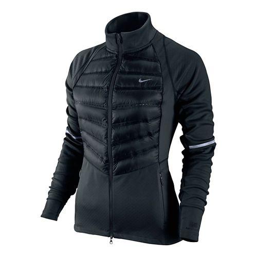 Womens Nike Aeroloft Hybrid Running Jackets - Black L