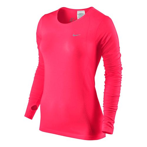 Womens Nike Dri-Fit Knit Long Sleeve No Zip Technical Tops - Fruit Punch XS