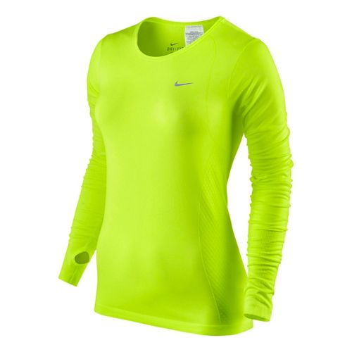 Womens Nike Dri-Fit Knit Long Sleeve No Zip Technical Tops - Volt L