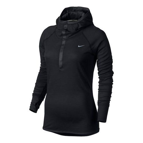 Womens Nike Wool Hoodie Long Sleeve No Zip Technical Tops - Black XL