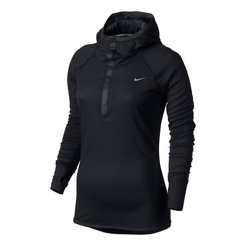 Womens Nike Wool Hoodie Long Sleeve No Zip Technical Tops - Black XS