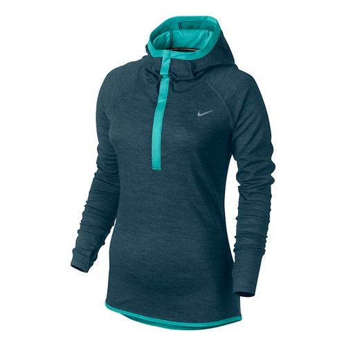 Womens Nike Wool Hoodie Long Sleeve No Zip Technical Tops - Deep Sea Blue S ...