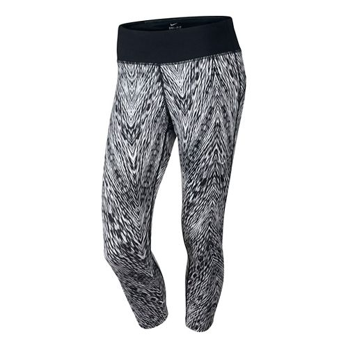 Womens Nike Printed Epic Run Crop Capri Tights - Black/White XS