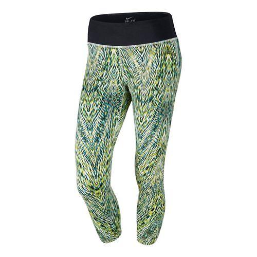 Womens Nike Printed Epic Run Crop Capri Tights - Cactus S