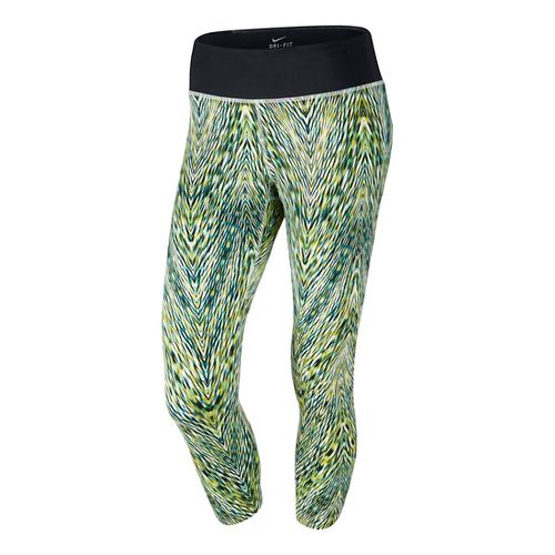 Womens Nike Printed Epic Run Crop Capri Tights - Cactus XS