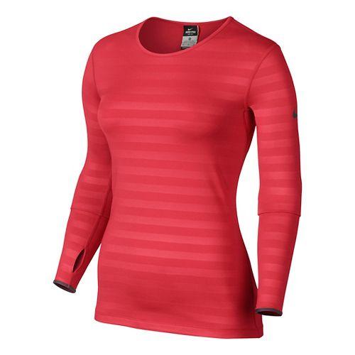Womens Nike Pro Hyperwarm Embossed Crew Long Sleeve No Zip Technical Tops - Formula Red ...