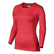 Womens Nike Pro Hyperwarm Embossed Crew Long Sleeve No Zip Technical Tops