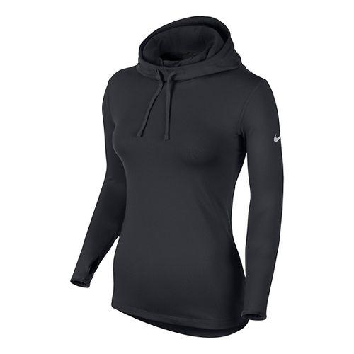 Womens Nike Pro Hyperwarm Hoodie Long Sleeve No Zip Technical Tops - Black XL