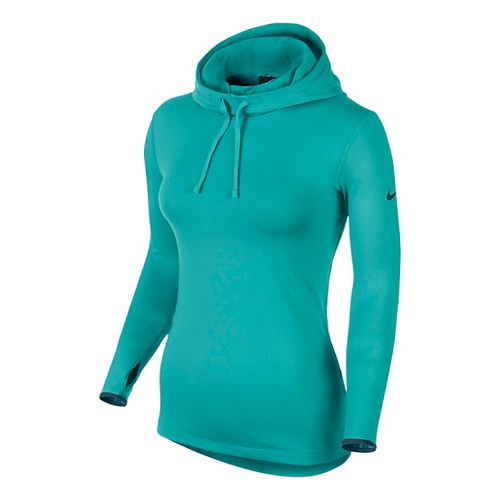 Womens Nike Pro Hyperwarm Hoodie Long Sleeve No Zip Technical Tops - Cactus M