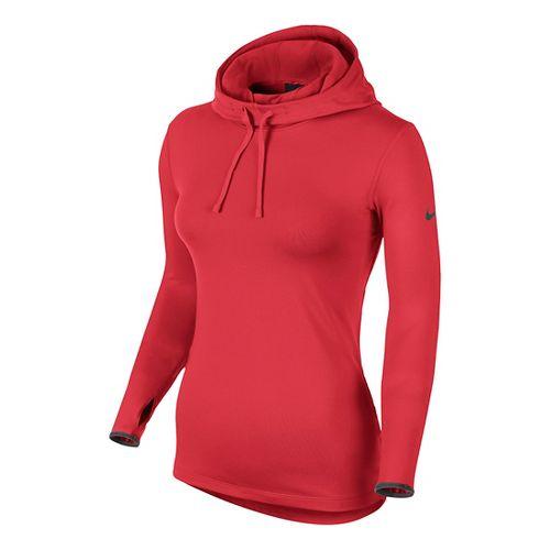Womens Nike Pro Hyperwarm Hoodie Long Sleeve No Zip Technical Tops - Formula Red L ...