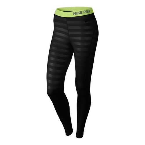 Womens Nike Pro Hyperwarm Embossed Fitted Tights - Black XS