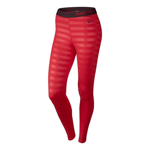 Womens Nike Pro Hyperwarm Embossed Fitted Tights - Formula Red XS