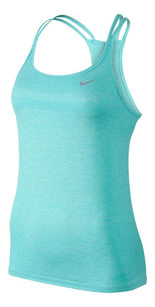 Womens Nike Dri-Fit Knit Strappy Tanks Technical Top - Light Aqua/Heather L