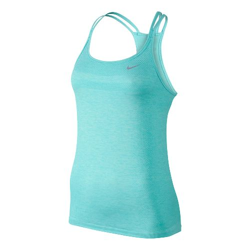 Womens Nike Dri-Fit Knit Strappy Tanks Technical Top - Light Aqua/Heather XL