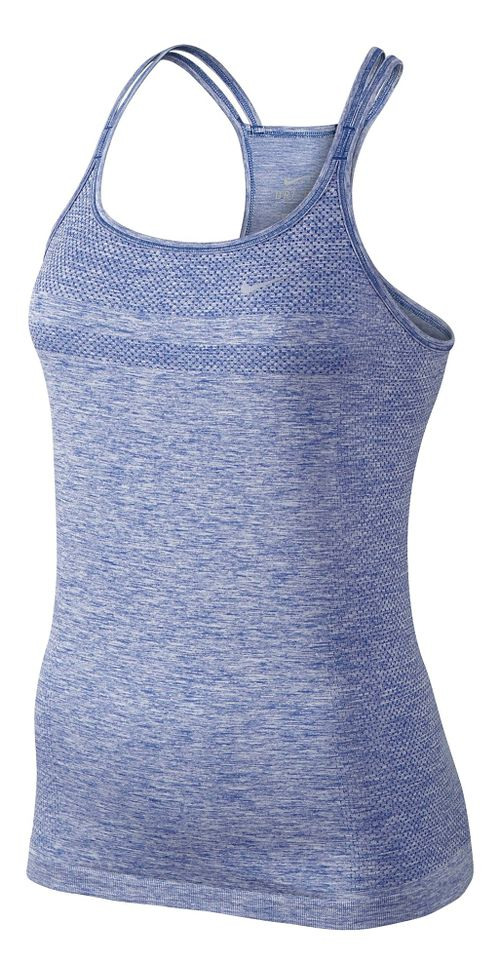 Womens Nike Dri-Fit Knit Strappy Tanks Technical Top - Royal L