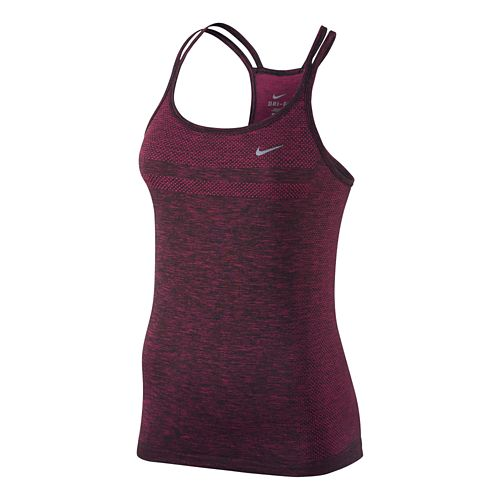 Womens Nike Dri-Fit Knit Strappy Tanks Technical Top - Vivid Pink M
