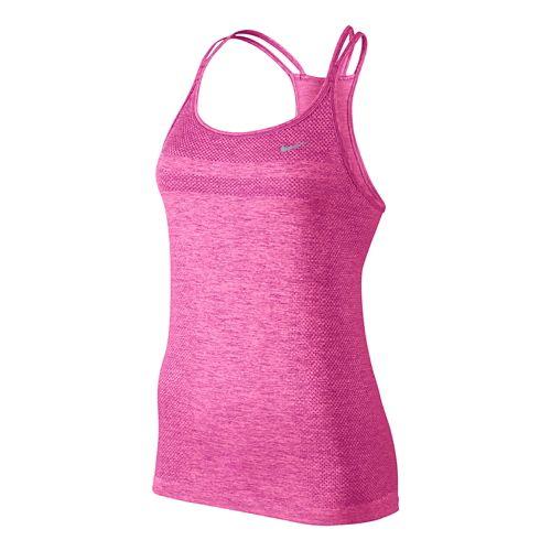 Womens Nike Dri-Fit Knit Strappy Tanks Technical Top - Light Aqua/Heather XL