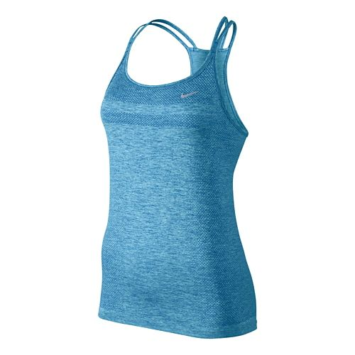 Womens Nike Dri-Fit Knit Strappy Tanks Technical Top - Lake Blue L
