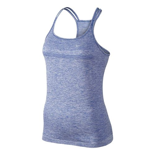 Womens Nike Dri-Fit Knit Strappy Tanks Technical Top - Light Aqua/Heather L
