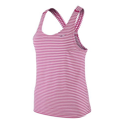 Womens Nike Tailwind Stripe Tank Technical Tops - Hot Pink/White XL