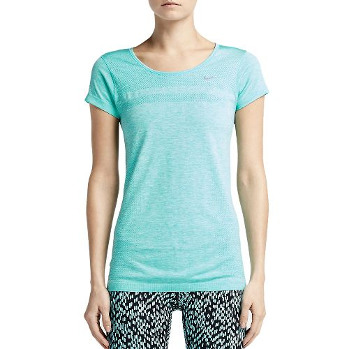 Womens Nike Dri-Fit Knit Short Sleeve Technical Top - Lake Blue XL