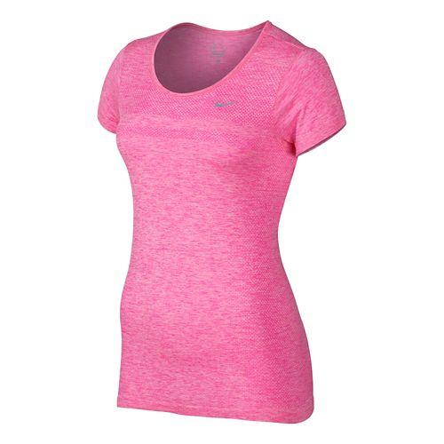 Womens Nike Dri-Fit Knit Short Sleeve Technical Top - Light Aqua/Heather XS